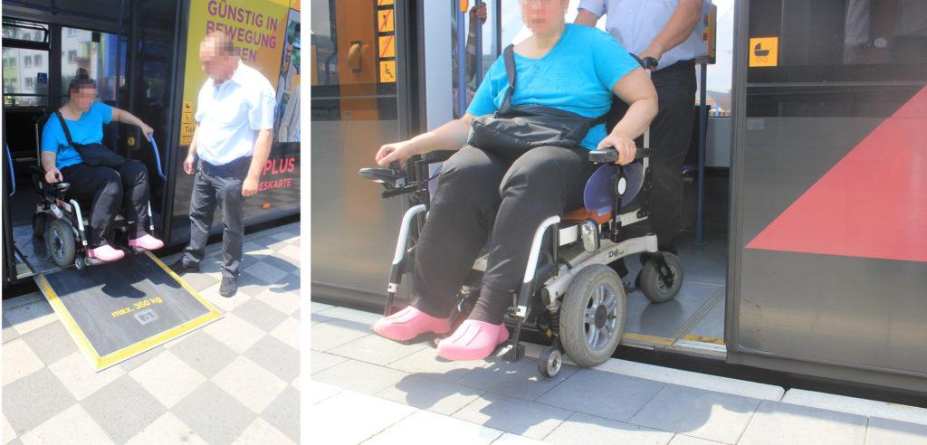 Frau im Elektrorollstuhl steigt aus Bus aus und braucht dafür eine ausklappbare Rampe. Daneben die gleiche Situation bei der Mainzer Straßenbahn nahezu ohne Stufe, daher wird keine Rampe benötigt.