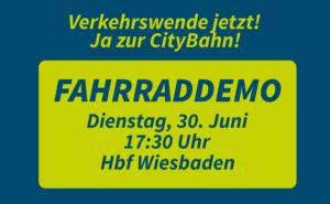 Fahrraddemo: Verkehrswende jetzt! Ja zur CityBahn! @ Hbf Wiesbaden
