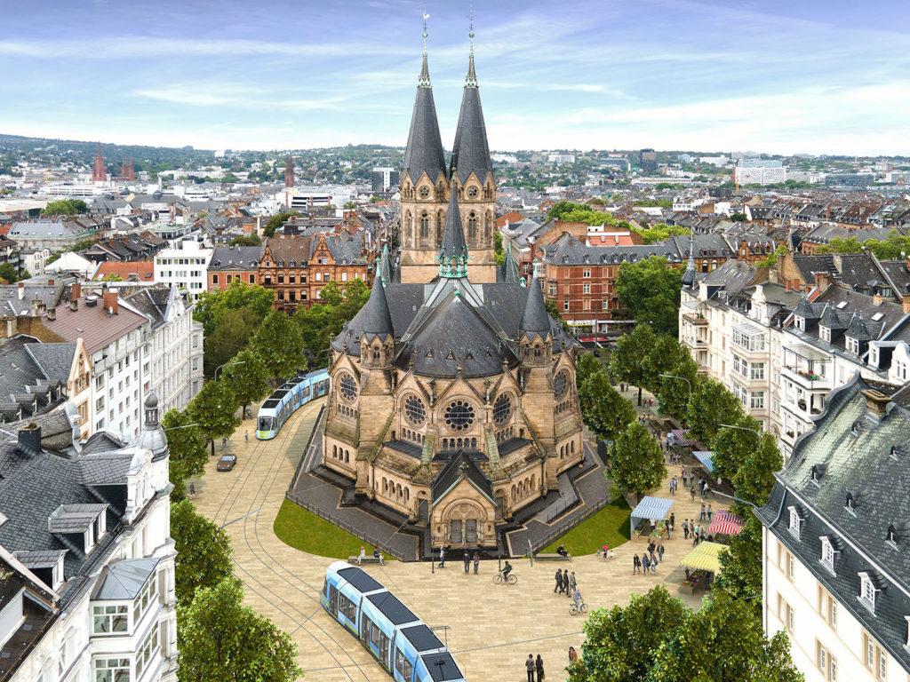 Visualisierung Citybahn an der Ringkirche