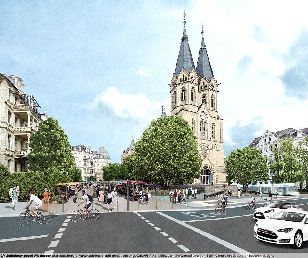 Visualisierung CityBahn Wiesbaden Ringkirche